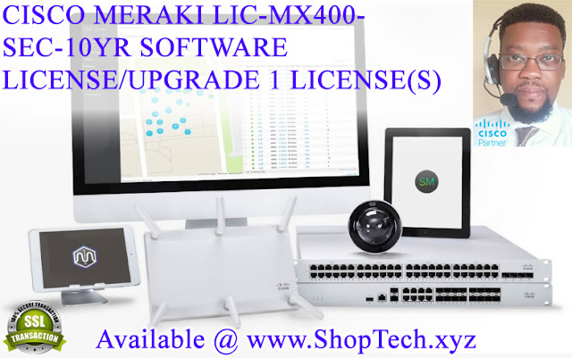 CISCO MERAKI LIC-MX400-SEC-10YR SOFTWARE LICENSE/UPGRADE 1 LICENSE(S) [RJOVenturesInc.com] #ShopTechxyz