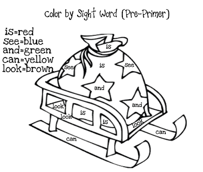 Classroom Freebies: Christmas Color by Sight Words Part 2