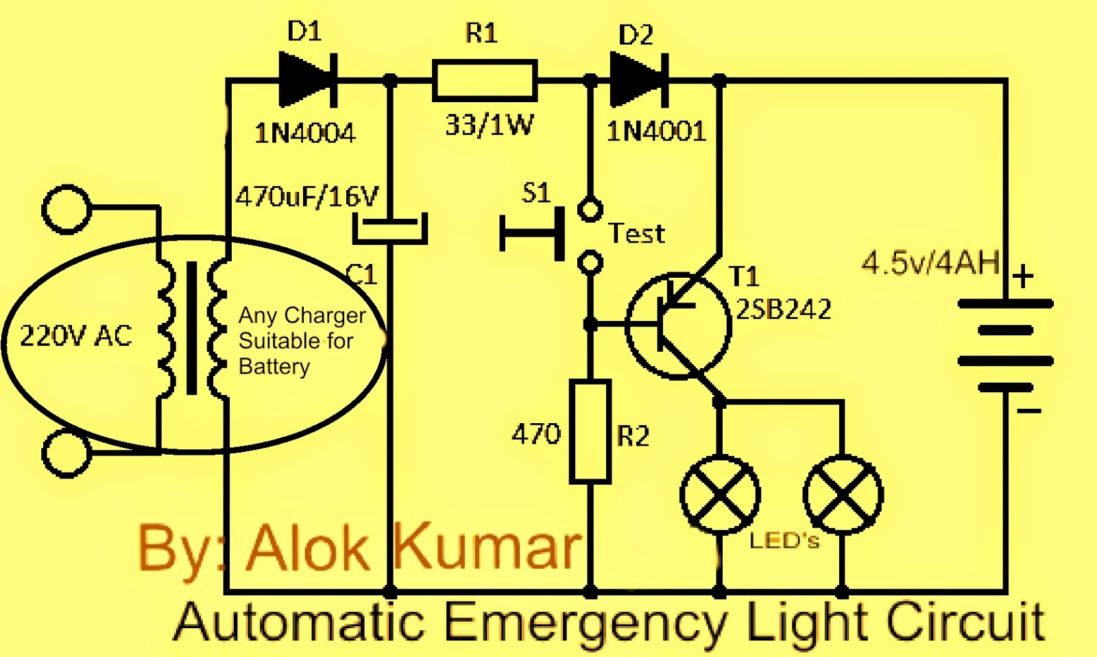 Emergency Light Circuit Lighting Wiring Diagram Simple Nicad Battery Charger By Little Part Eleccircuit Electronic Circuits Power Supply Led Drivers Chargers Solar Automatic With
