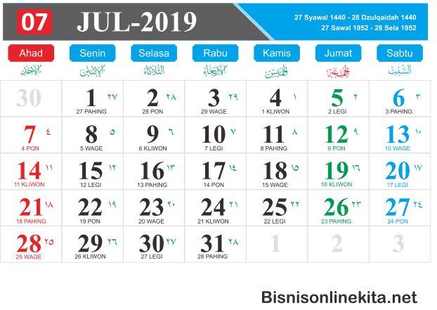 kalender 2019 Juli