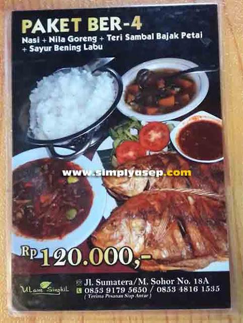 PAKET BER-4 :  Inilah sajian Paket ber-4 di Rumah Makan Ulam Singkil ini yang kami pesan. Porsinya memang pas untuk disantap ber 4 dan harganya relatif terjangkau. Foto Asep Haryono