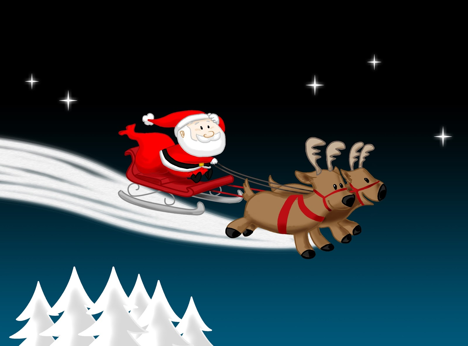 santa and reindeer from north pole wishing happy christmas for