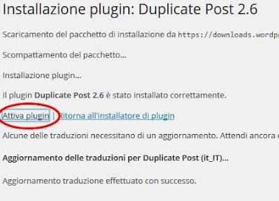 Attiva plugin wordpress