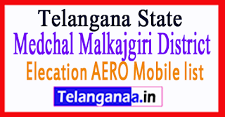 Medchal Malkajgiri District Elecation AERO Mobile list in Telangana State