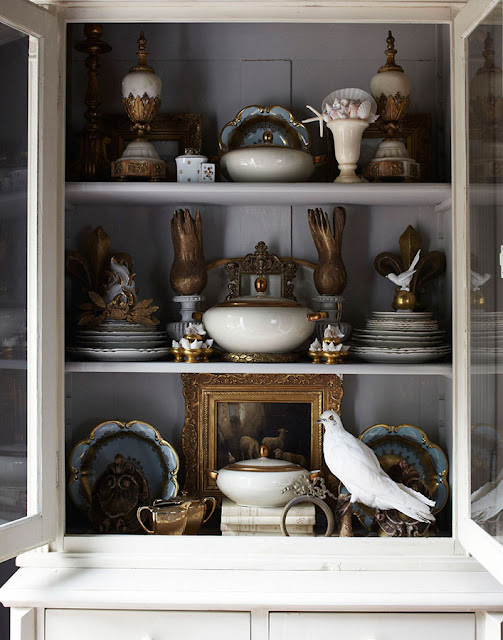Breathtaking interior of cabinet with design by Annie Smith, antiques and taxidermy - found on Hello Lovely Studio