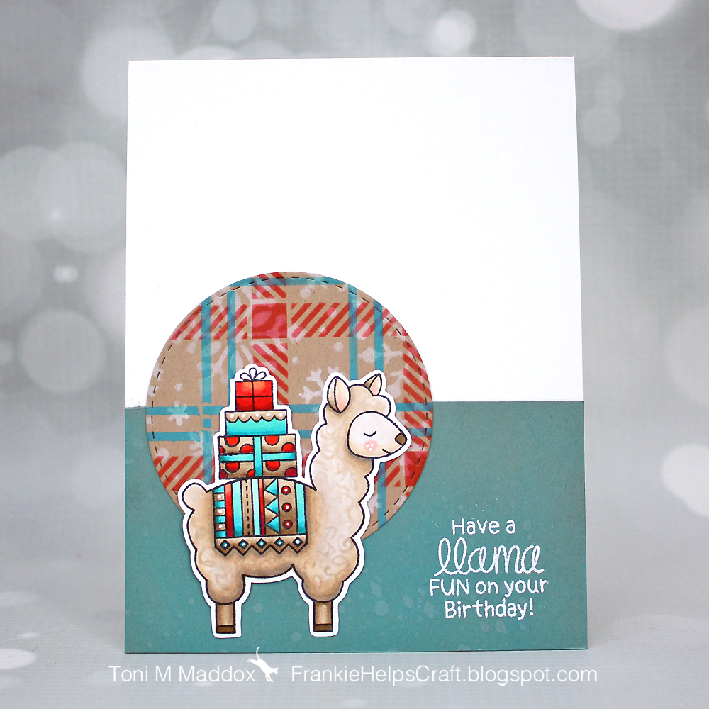Winter Friends Card by January Guest Designer Toni Maddox | Loveable Llamas Stamp Set and Plaid and SnowFall Stencils by Newton's Nook Designs #newtonsnook #handmade