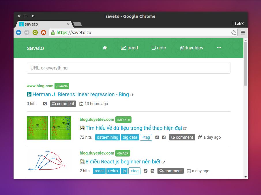 saveto.co cập nhật giao diện, trend, share và bình luận