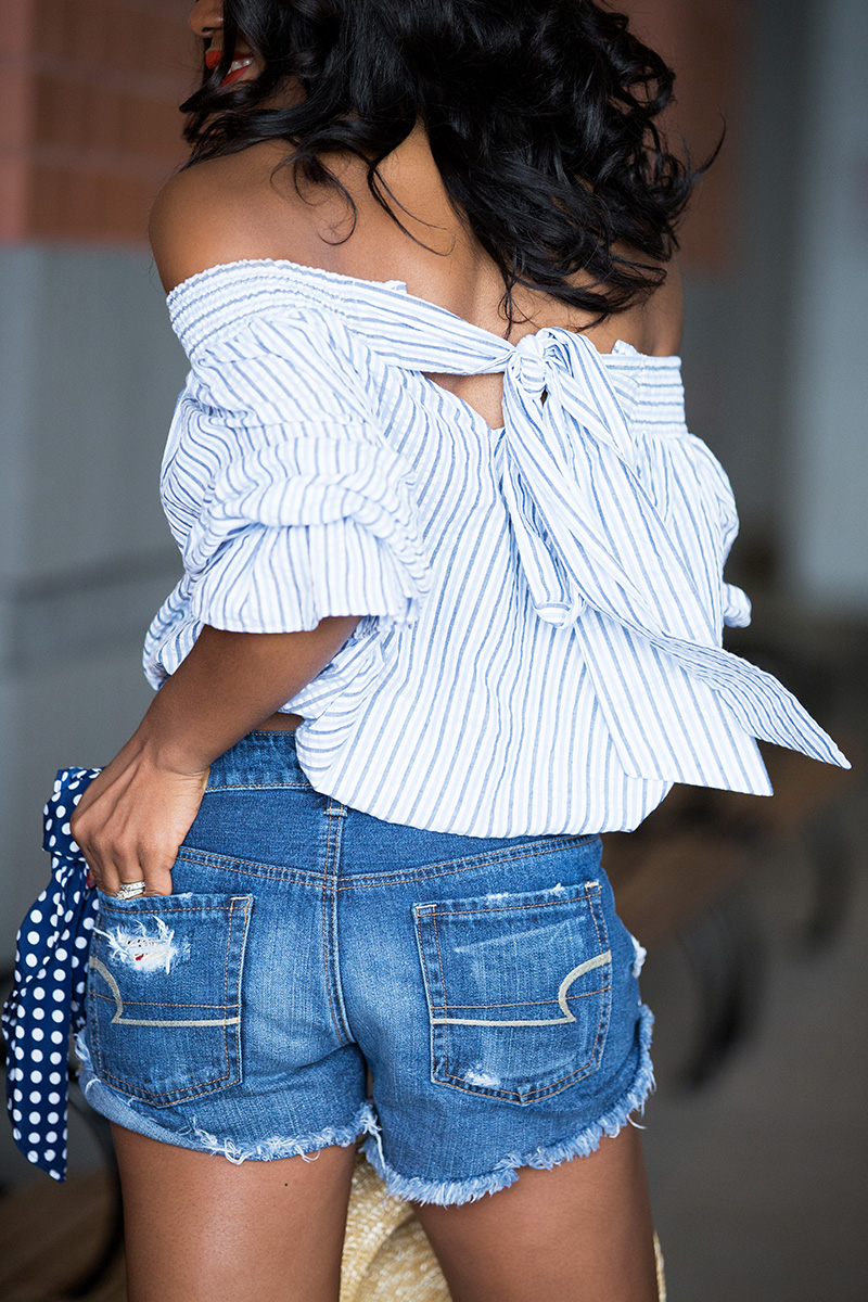 chicwish blue stripes off shoulder top with bowknot, Marc fisher wedge, www.jadore-fashion.com