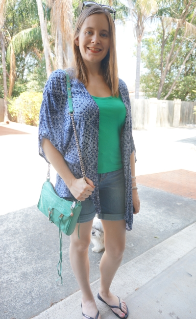 blue and green fitted tank Bermuda trinity denim shorts jJanswest new look petite print kimono | AwayFromBlue