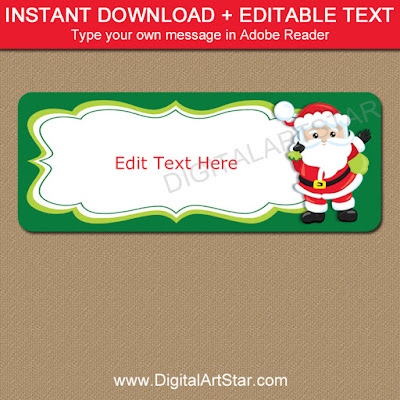 Santa address label printable with editable text for using as Christmas gift labels and gift tags
