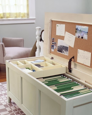 Turn a chest or bench into an elaborate filing cabinet