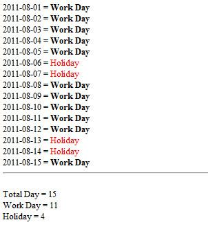 PHP Checking Work Day , Holiday ตรวจสอบวันหยุด และวันหยุดราชการ