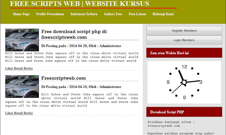 Script Website Dengan PHP dan Database MySQL
