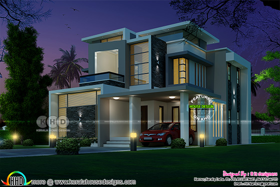 2344 square feet 4 bedroom box type contemporary home