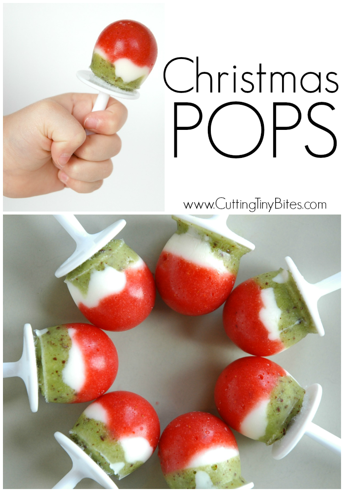 Christmas Popsicles - healthy holiday dessert or snack made with fruit and yogurt that you can feel good about giving to your kids!