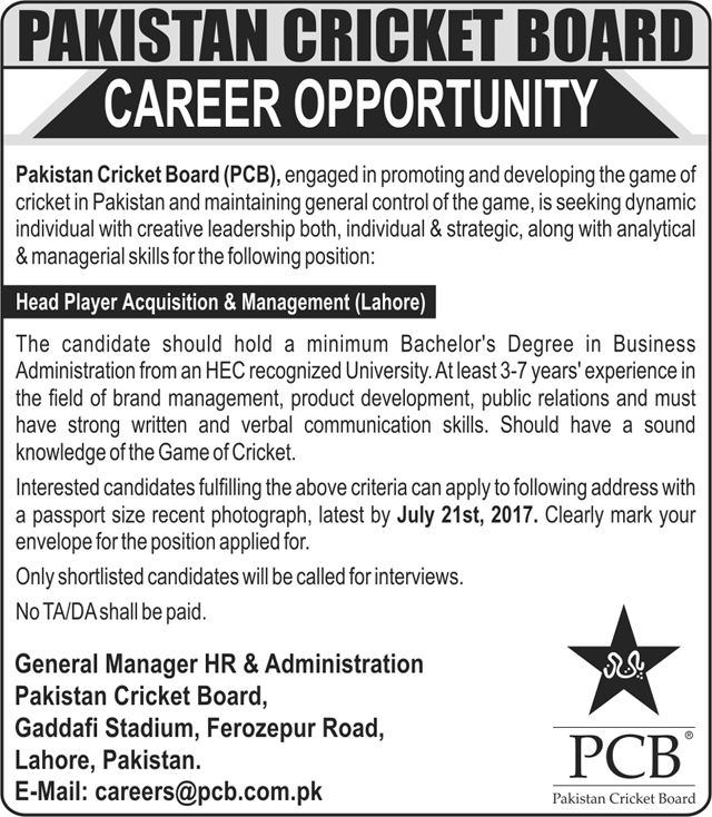 Head Player Jobs in Pakistan Cricket Board PCB Lahore 6 july 2017