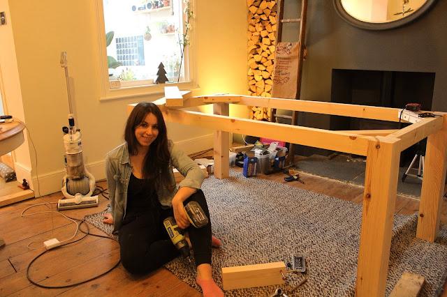 female DIYer woodworking