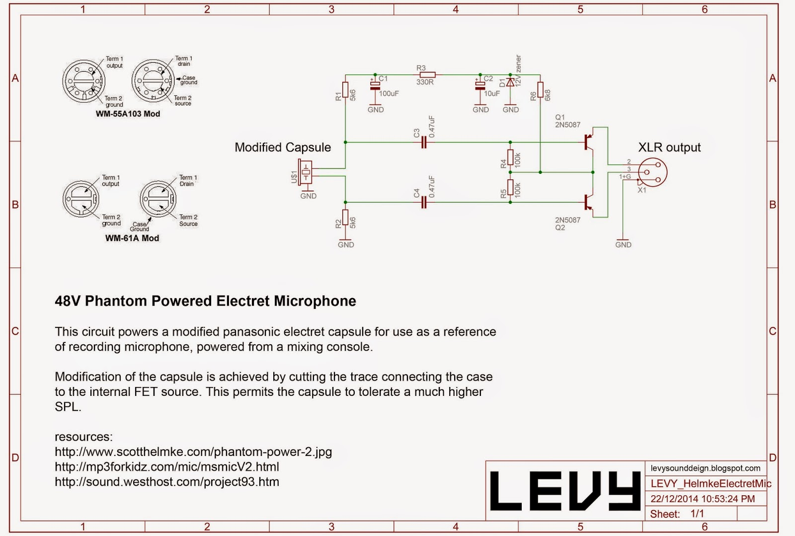 Levy Sound Design  48v Phantom Powered Electret Condenser