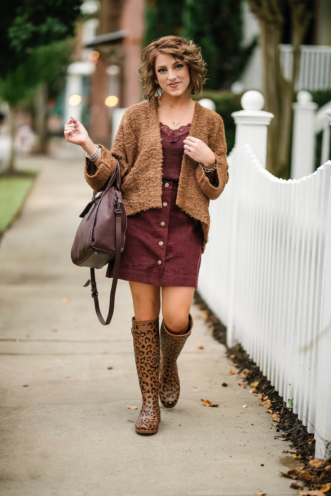 Under $30 Cord Skirt, Target Style Cardigan & Leopard Print Hunter Boots - Something Delightful Blog