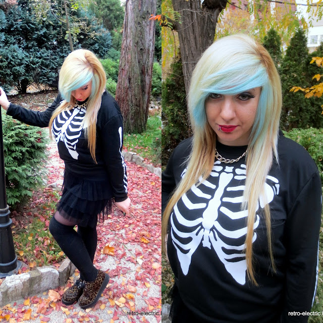emo goth girl skeleton print sweatshirt leopard creepers blue hair blonde