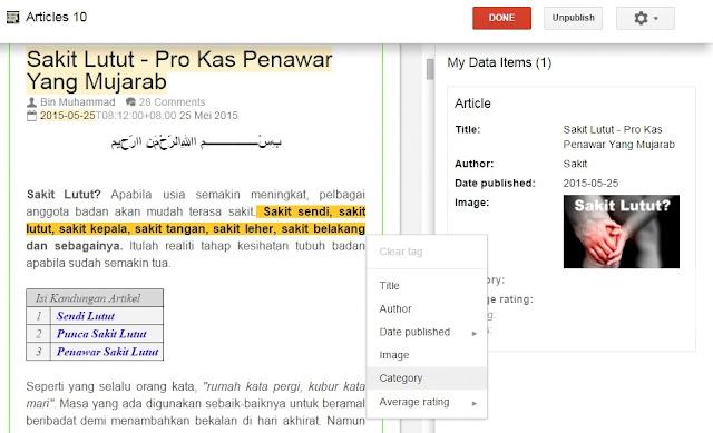 Panduan Google Webmaster - Search Appearence - Data Highlighter