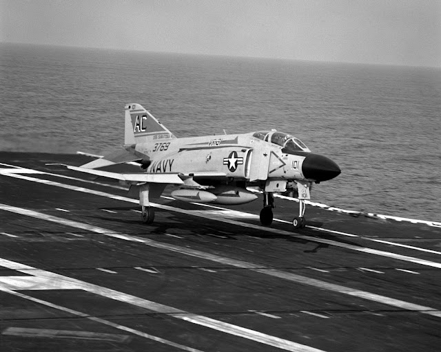 F-4J Phantom lands aboard the USS Saratoga, January 8, 1980.