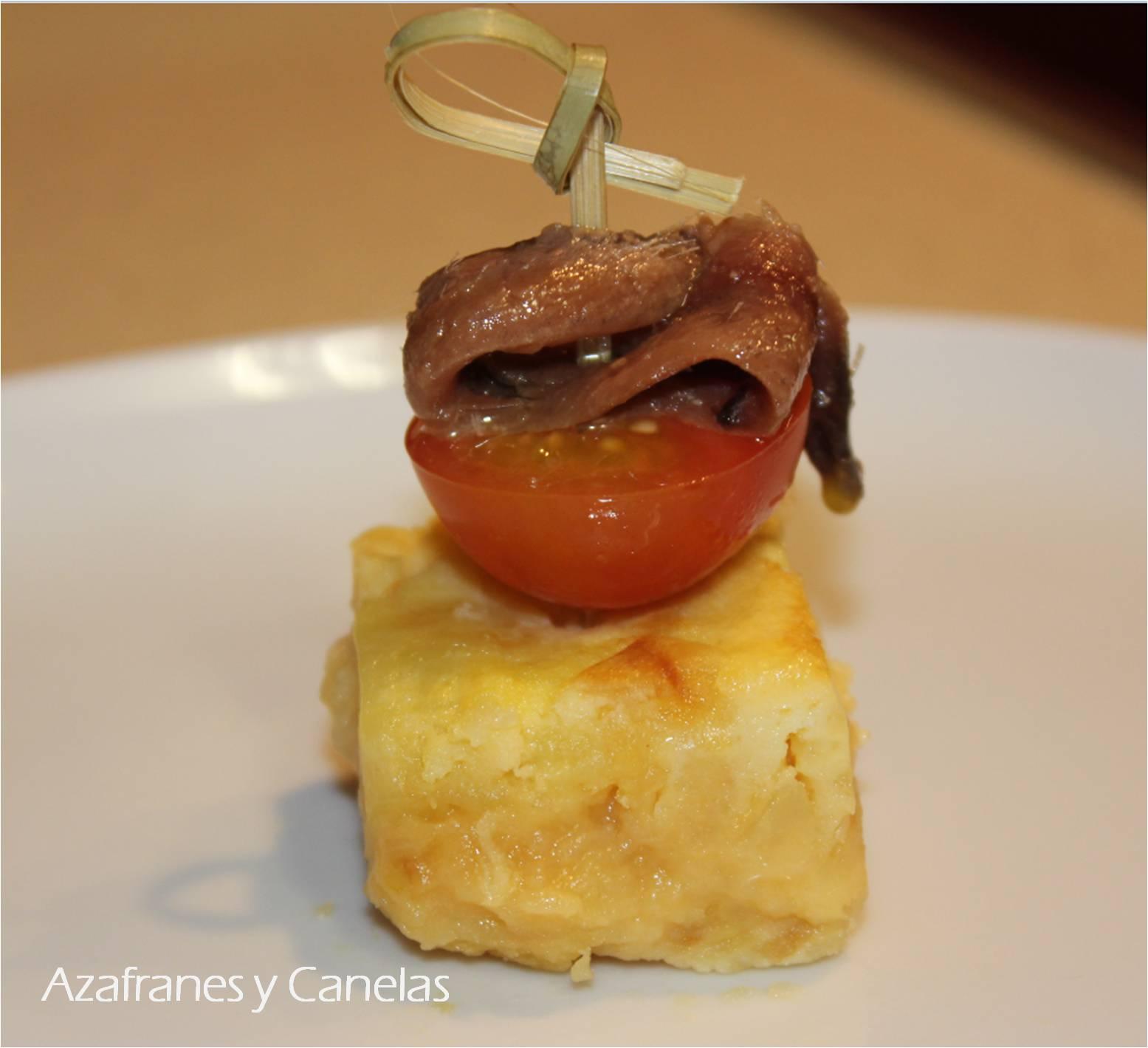 Pincho de tortilla con anchoa y tomate  Azafranes y Canelas