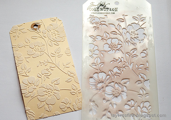 Layers of ink - Multi-Color Embossing Tutorial by Anna-Karin Evaldsson. Stencil the background with Tim Holtz Floral stencil.