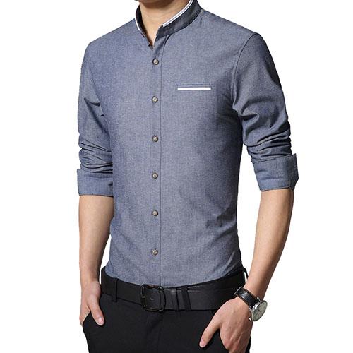 Model Kemeja Pria Kerah Mandarin Slimfit Lengan Pendek Jual Kemeja