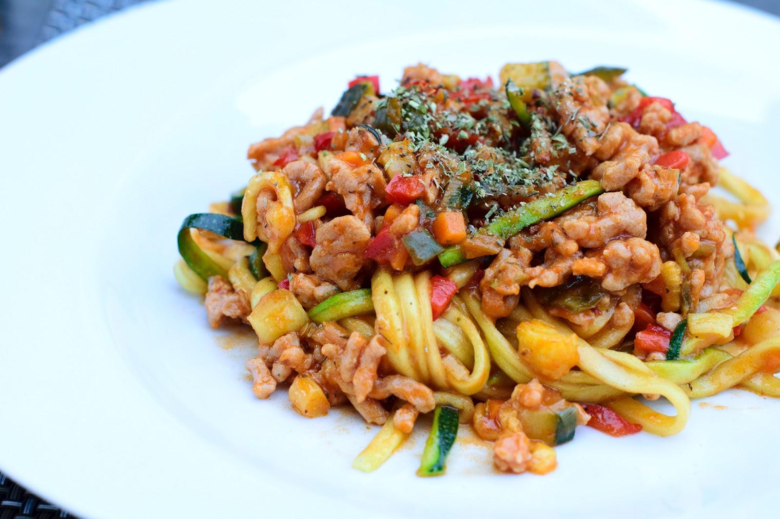 Espaguetis de calabacín a la boloñose