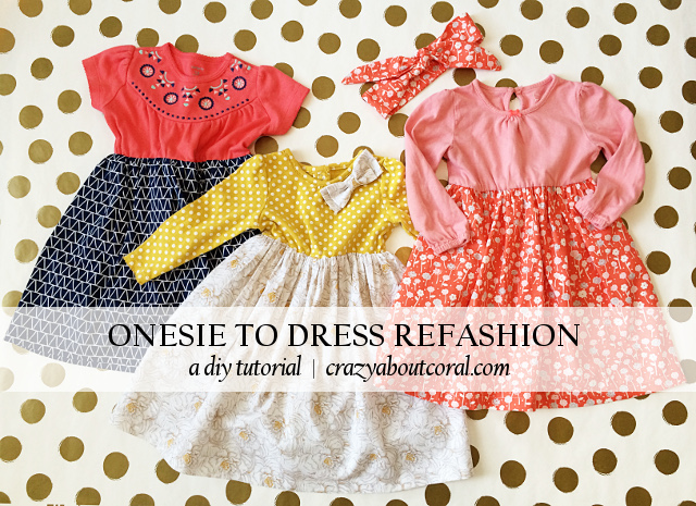 Onesie to Dress Refashion DIY tutorial