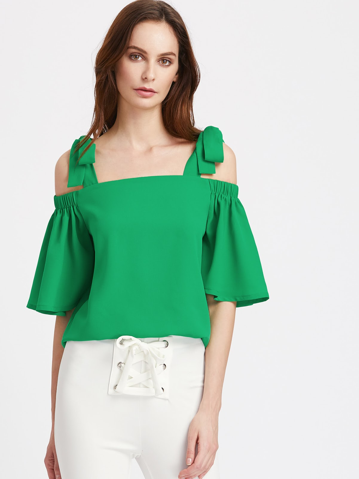 Self Tie Shoulder Elasticized Bell Sleeve Top