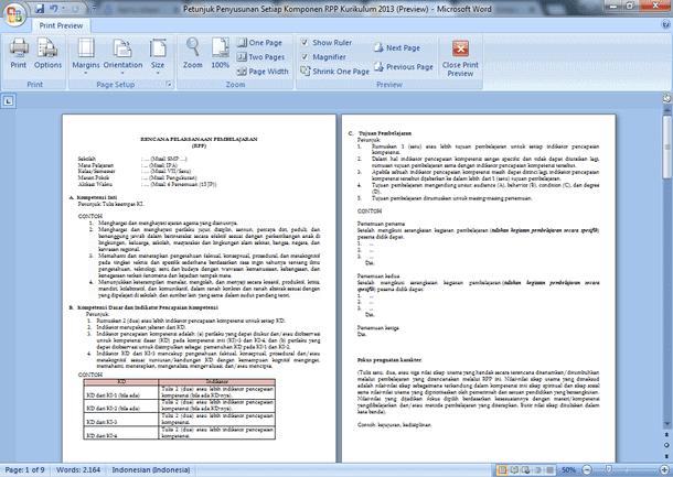 Contoh dan Petunjuk Penyusunan Setiap Komponen RPP Kurikulum 2013
