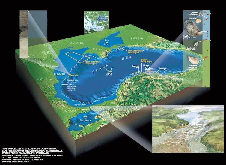 Infográfico da hipótese do Dilúvio no Mar Negro.