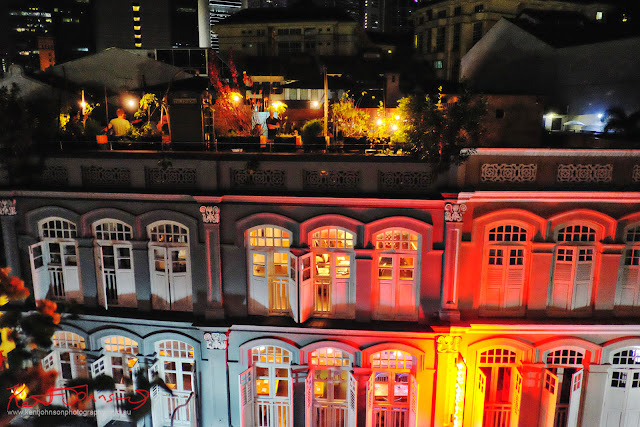 Colonial buildings lit up in coloured lights at night, Ann Siang Hill, Singapore. Photo by Kent Johnson for Street Fashion Sydney.