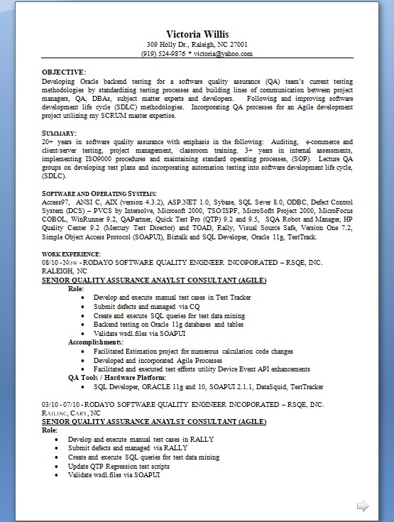 senior quality assurance analyst consultant sample resume