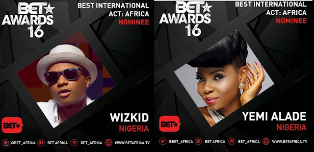 BET Awards 2016: Wizkid and Yemi Alade Nominated (Full List of Nominees)