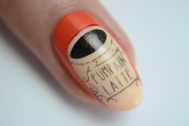 Pumpkin latte nail art furious filer macro orange Starbucks