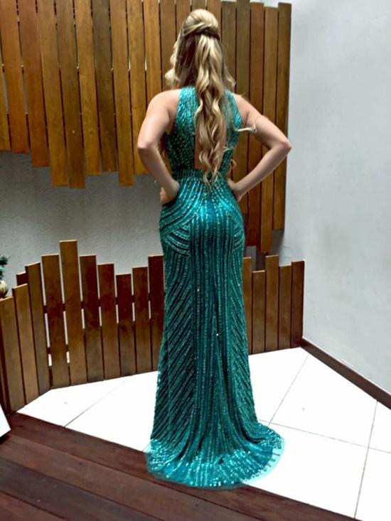 vestido de festa verde bordado
