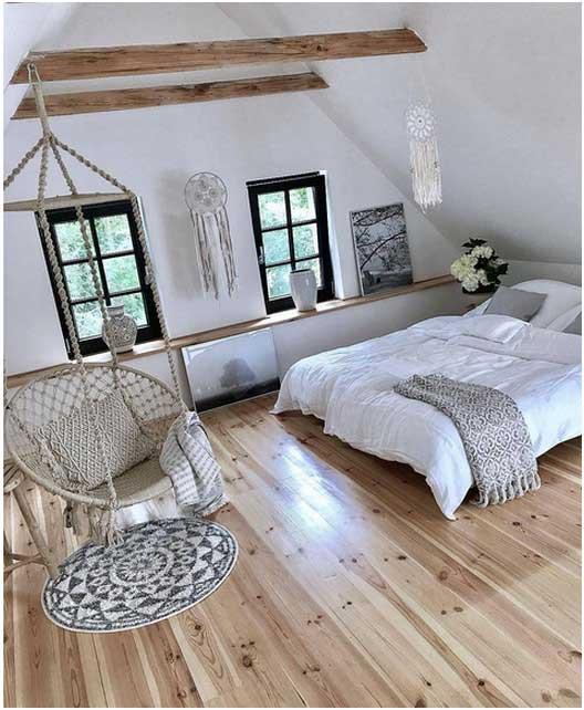 Superb Schlafzimmer Holzboden #13: Schlafzimmer-bilder-bett-ohne-kopfteil