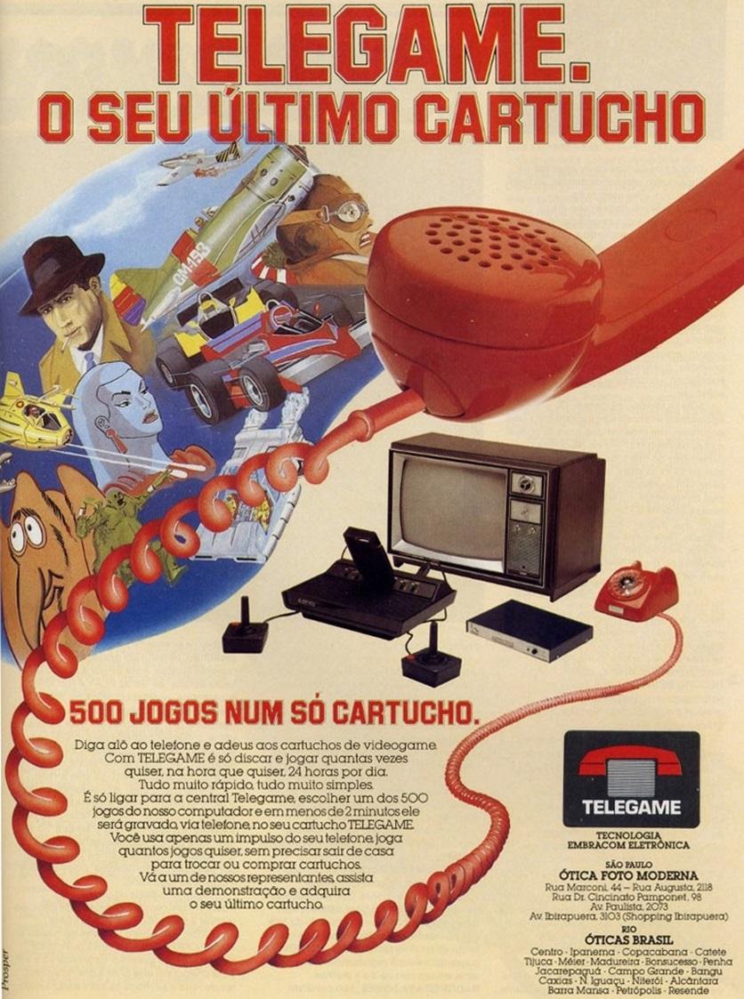 Propaganda do Telegame integrado ao Atari para baixar jogos em cartucho acoplado ao vídeo-game