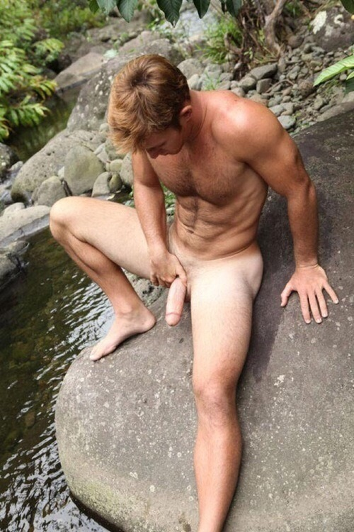 Watch male nude model takes care of his erection