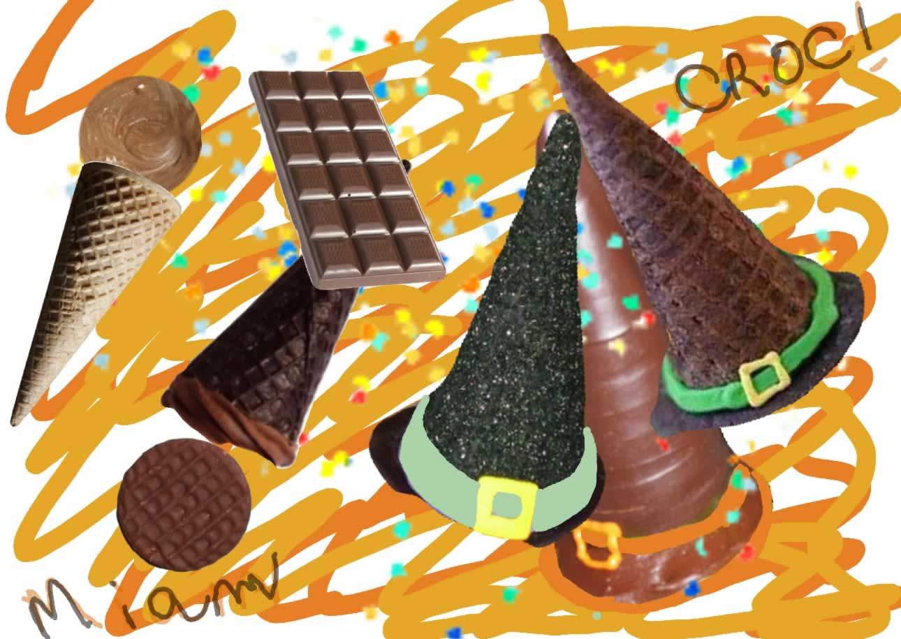 street food cuisine du monde recette de friandises au chocolat en forme de chapeau de sorci re. Black Bedroom Furniture Sets. Home Design Ideas