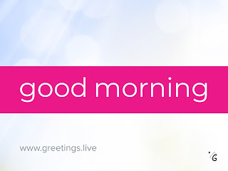 Bright sparkling blurred lens flares background, white good morning text with pink background