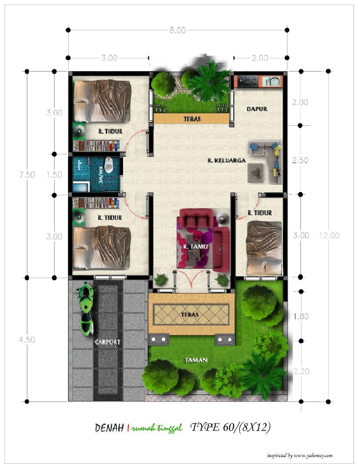 Denah Rumah 7x15 : denah, rumah, Desain, Rumah, Meter