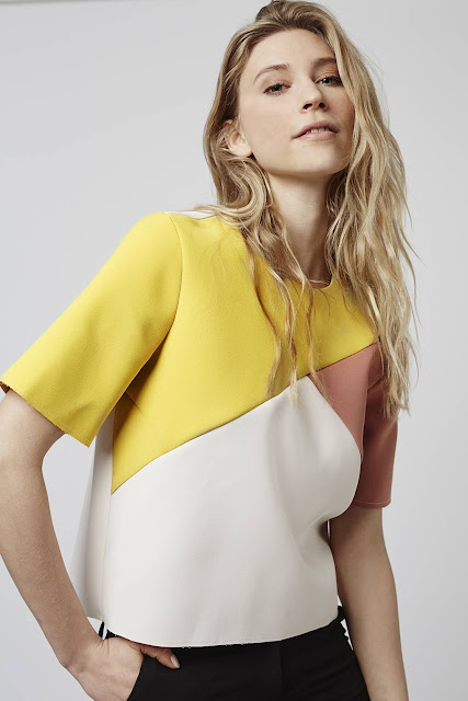 yellow colour block top, topshop colour block top, colour block t-shirt,