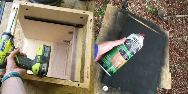 attaching top supports with pocket hole screws and spraying chalkboard paint