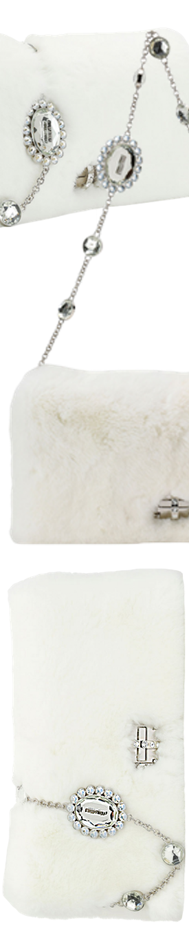 Miu Miu Jeweled Fur Chain Clutch Bag