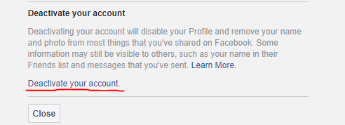How to deactivate Facebook Account-- deactivate link