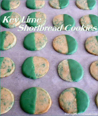 Key Lime Shortbread Cookies are a little sweet with a burst of citrus. Perfect for St. Patrick's Day. | Recipe developed by www.BakingInATornado.com | #recipe #cookies